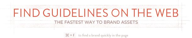 Find guidelines on the web. Brand guidelines for a bunch  of online services (think Facebook, Twitter, Dropbox, Mailchimp etc.) all in the one handy place.