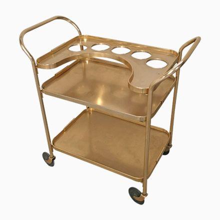 Italian Gilt Aluminum Bar Cart on Wheels, 1960s Jetzt bestellen unter: https://moebel.ladendirekt.de/kueche-und-esszimmer/bar-moebel/bars/?uid=783fd835-8f6d-541b-bbac-fb187cda0d5a&utm_source=pinterest&utm_medium=pin&utm_campaign=boards #kueche #esszimmer #bars #barmoebel Bild Quelle: pamono.com