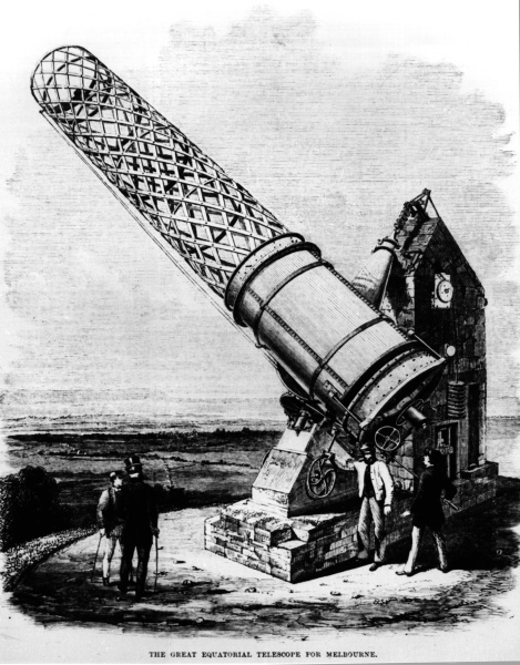 Artist's impression of the Great Melbourne Telescope, built by Thomas Grubb of Dublin in 1868 and erected at Melbourne Observatory (now within the Royal Botanic Gardens) in 1869. It was a reflecting telescope with a speculum (metal) mirror of 48 inches (1.2 metres) diameter. At the time it was the second largest telescope in the world.