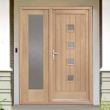 Image Of Siena Exterior Oak Door And Frame Set With One Side Screen And  Obscure Double