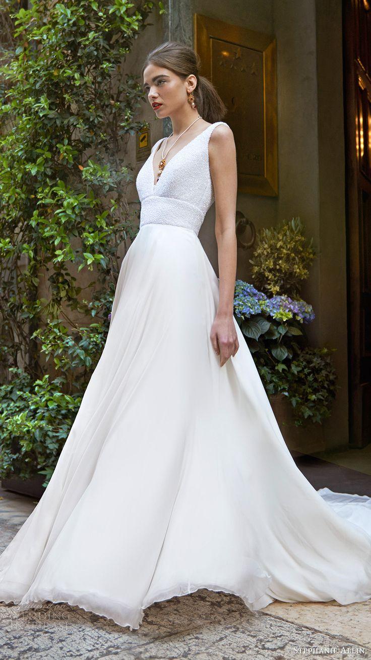 stephanie allin bridal 2017 sleeveless vneck beaded bodice aline wedding dress (demi) mv
