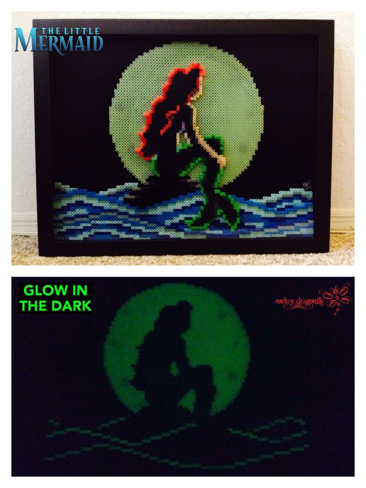 The Little Mermaid , Glow in the Dark Perler Bead Commission by: RockerDragonfly
