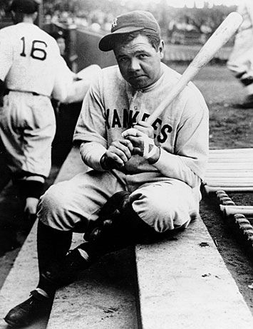 """The guy stroked his goatee. """"What do you call twenty guys watching the world series?"""" /""""The New York Yankees,"""" Butch replied."""" ~ J.R. Ward / Photo: Babe Ruth, 1936"""