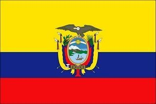 National flag of Ecuador from http://www.flagsinformation.com/ecuadorian-country-flag.html  Three horizontal bands of yellow (top, double width), blue, and red with the coat of arms superimposed at the center of the flag; similar to the flag of Colombia, which is shorter and does not bear a coat of arms.