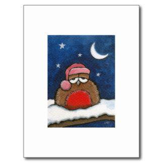 Schläfriger Robin - Kunst der Postkarten-ACEO Postkarten