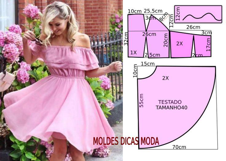 A pedido de uma seguidora vou explicar o corte e costura do vestido rosa godé com medidas. O molde de vestido está com as medidas correspondentes ao...