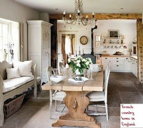 lovely, rustic and elegant open kitchen ....