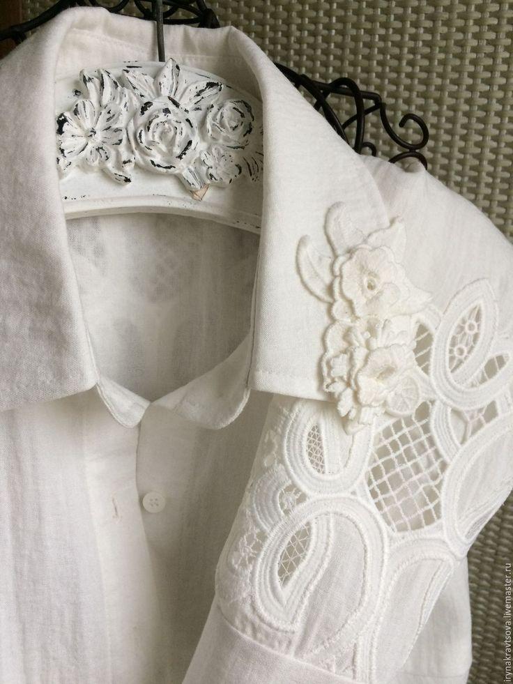 Купить Рубашка 1006 лён ришилье - белый, однотонный, рубашка, льняная ткань, лен с вискозой