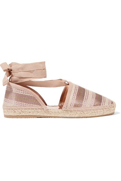 Jimmy Choo | Dolphin striped metallic canvas espadrilles | NET-A-PORTER.COM
