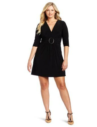 Star Vixen Women's Plus-Size 3/4 Sleeve Buckle Detail Swingy Dress $50.00 #dresses
