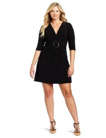 Star Vixen Women's Plus-Size 3/4 Sleeve Buckle Detail Swingy Dress $50.00 #dresses