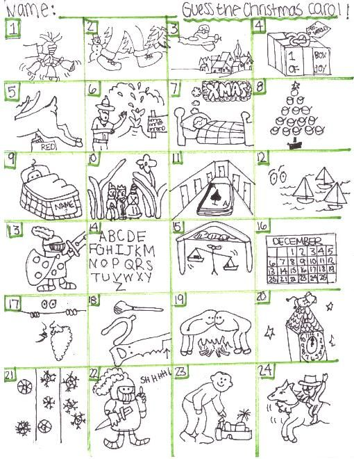 24 pictograms that students have to figure out the Christmas Carol. This is a great sheet to have them do right before Christmas vacation. Comes with answer key!