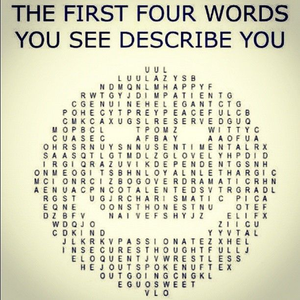The first four words you see describe you.