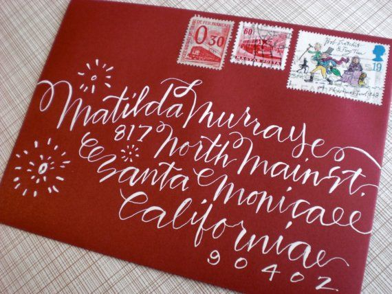 !: Christmas Cards, Fake Calligraphy, Envelopes, Home Crafts, Wedding Invitations, Hands Letters, Fonts, Diy Wedding, White Ink