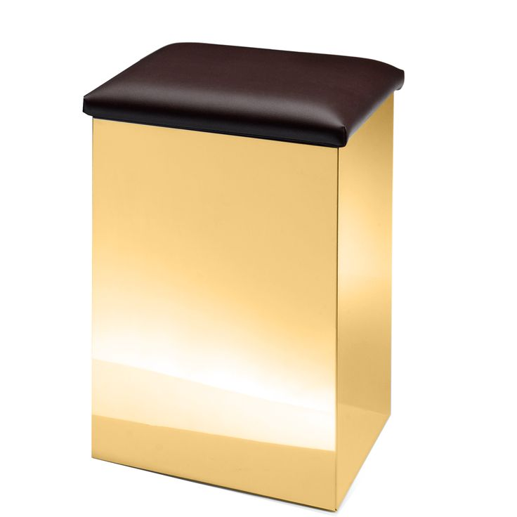 DWBA Hamper Stool Bench & Laundry Basket, Gold Steel & Artificial Leather