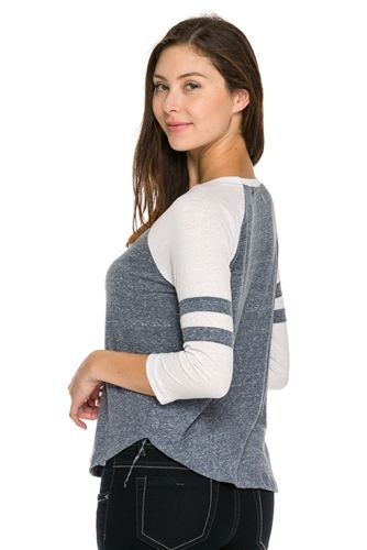 sexy casual baseball style tee top, striped grey baseball tops that are trendy…