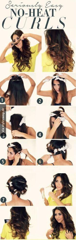 DIY Locken ohne Hitze!  Wenn ihr diese Anleitung befolgt, werdet ihr im Schlaf zu einer Glamourösen Lady!!  Gesunde und perfekte Haare ♥