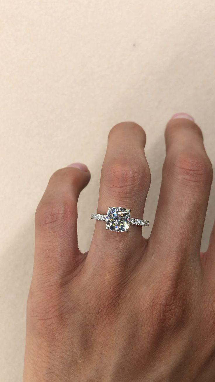 2.20 Carat Cushion Cut Diamond Hidden Halo Engagement Ring
