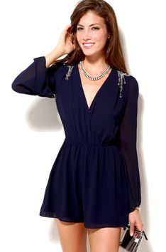 Final Sale - Epaulette Romper in Ink Blue