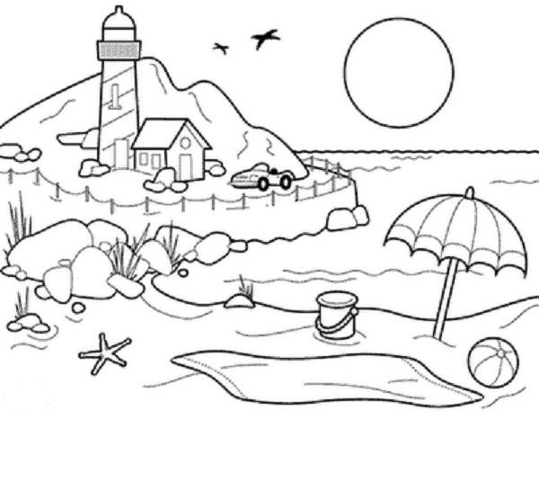 beach sunset coloring pages for girls and boys Beach