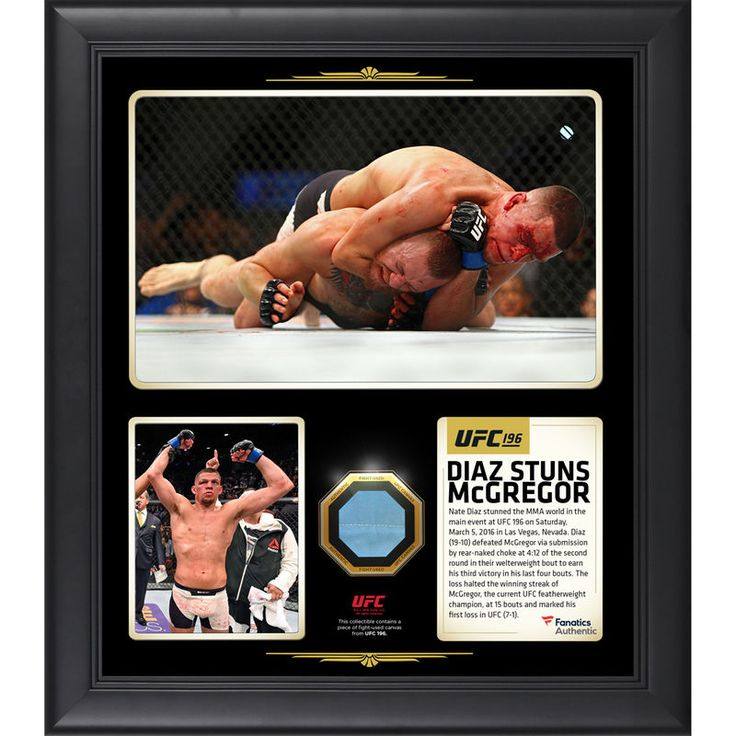 """Nate Diaz Ultimate Fighting Championship Fanatics Authentic Framed 15"""" x 17"""" UFC 196 Victory Over Conor McGregor Collage with a Piece of Canvas From UFC 196"""
