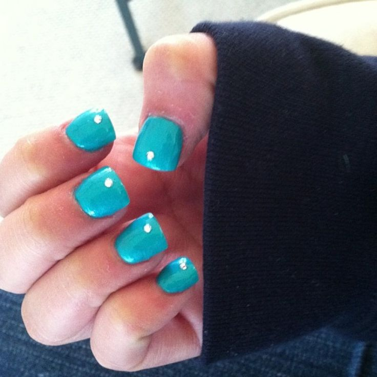 Pics For > Dark Turquoise Acrylic Nails