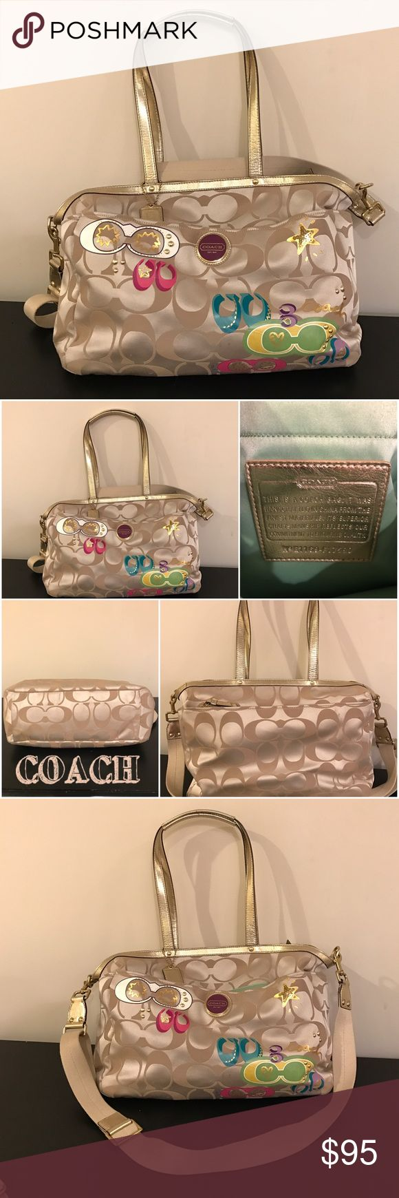 """🔥LAST CHANCE🔥 COACH travel/diaper bag **LAST CHANCE** Multiple offers, BUY NOW, or submit an offer I can't refuse!! .....COACH cream diaper/travel bag. GREAT condition, a few marks on back side cleanable. (See pictures) Very clean on the inside!  Used previously as a diaper bag, then travel bag. Lots of pockets inside!!!! Also has a cross strap. Comes with clean matching diaper pad.  🔸Size: Medium/Large 🔸Measurements: Approx. 16x7x11; strap is 10"""". 🔸Color: Cream/Multi-color  No trades…"""