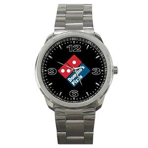 Domino's Pizza logo in watch. New way to increase the visibility of  brand. Join us & get your business noticed by future customer