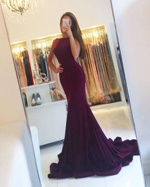 169 USD.Grape Jersey Mermaid Prom Dress,Sweep Train Evening Dress,Backless Formal Dress,Long Party Dresses