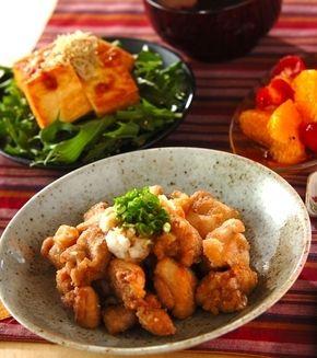 鶏の竜田揚げおろしポン酢がけ」の献立・レシピ - 【E・レシピ】料理の ...