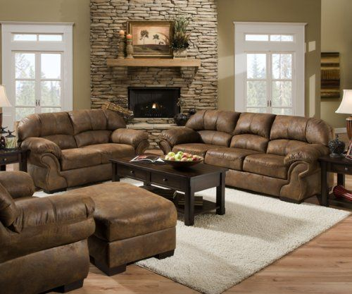 Pinto Tobacco Leather Look Fabric Sofa And Loveseat Set   Sink Into The  Simmons Pinto Tobacco