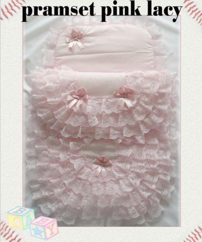 PK-New-Handmade-Babys-2-Piece-Lacy-Pramset-Pram-set-Quilt-Blanket