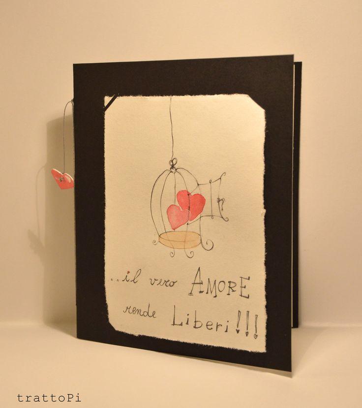 """San Valentino biglietto fatto a mano """"amore libero"""" : Biglietti di trattopi"""
