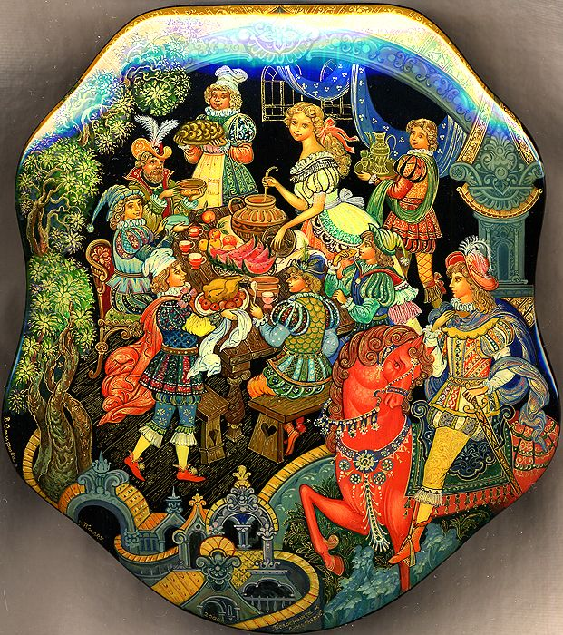 """Village of Palekh, artist Vera Smirnova  """"Snow White and the Seven Dwarfs""""  My favorite lacquer box artist - Vera is now one of the most sought after artists in this medium. To appreciate the talent and work this takes - note the size 5x6 inches!"""