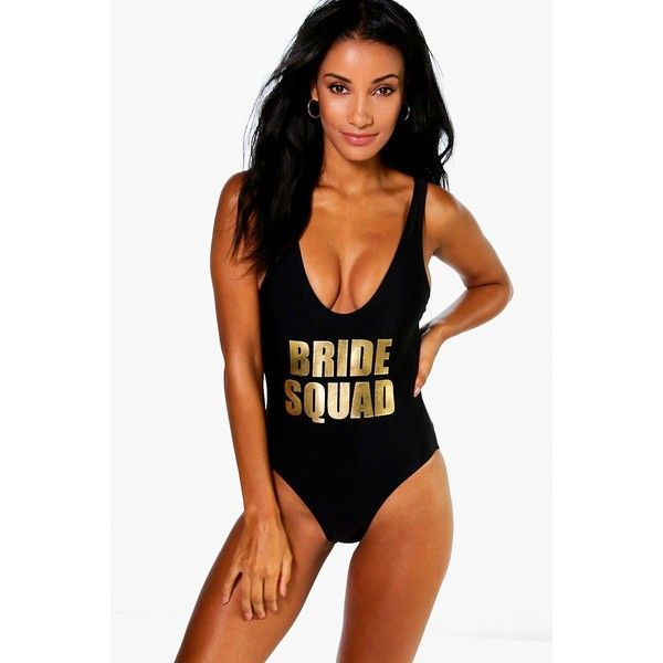 Boohoo Dubai Brides Squad Slogan Swimsuit ($35) ❤ liked on Polyvore featuring swimwear, bikinis, black, high waisted swimsuit, swimsuits two piece, high waist bikini swimsuit, high waisted two piece bathing suit and high waisted two piece swimsuit