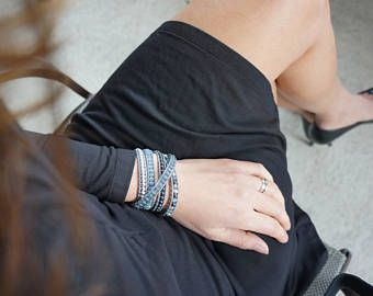 Dark Grey & Silver Wrap Bracelet