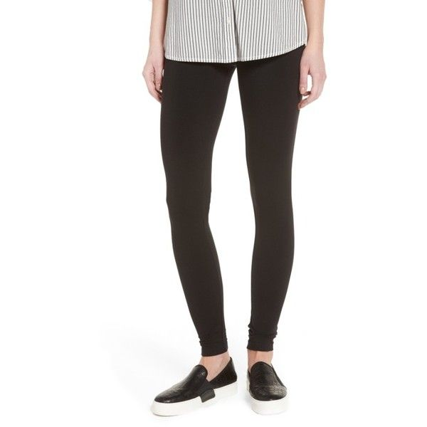 Women's Hue Pima Cotton Blend Leggings (45 AUD) ❤ liked on Polyvore featuring pants, leggings, black, wetlook leggings, wet look pants, shiny leggings, cotton blend pants and wet look leggings