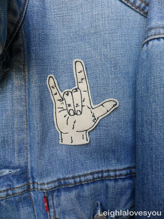 Very cool machine embroidery!! Sign Language Embroidered Patch/Brooch via Etsy