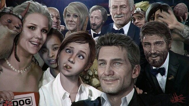 Naughty Dog character selfie - this is so delightful, like the Grinch, my heart…