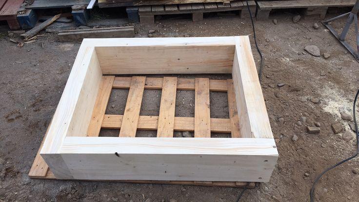"Raised bed 110 x 90 x 25cm.   4"" softwood beams"