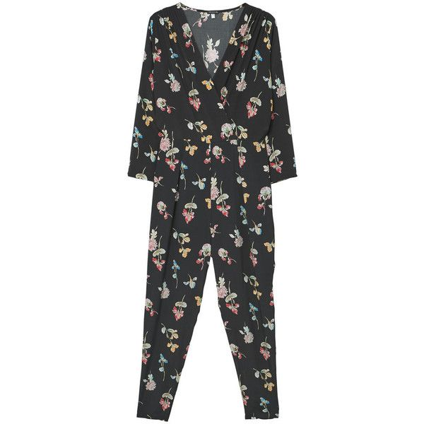 MANGO Printed Wrap Jumpsuit (445545 PYG) ❤ liked on Polyvore featuring jumpsuits, v neck jumpsuit, cropped jumpsuit, wrap jumpsuit, mango jumpsuit and floral print jumpsuit