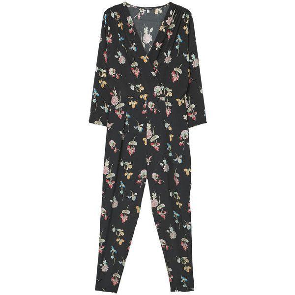 MANGO Printed Wrap Jumpsuit (£62) ❤ liked on Polyvore featuring jumpsuits, mango jumpsuit, jump suit, wrap jumpsuits, floral jumpsuit and floral print jumpsuit