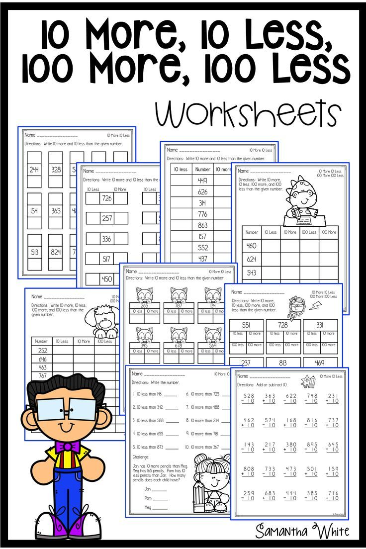 10 More 10 Less 100 More 100 Less Worksheets Math Facts Math Lessons Worksheets