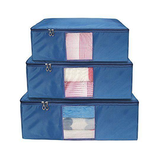 Large Storage Bag Clothing Fabric  Zipper Blankets Sweaters Clothes Storage Bags #LargeStorageBag