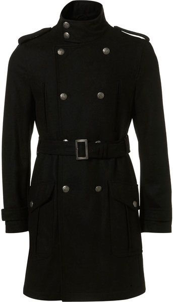 long black Military Trench Coats For Men | Topman Black Wool Military Trench Coat in Black for Men - Lyst