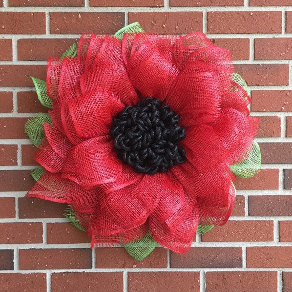 Red Sunflower Wreath Sunflower Burlap by JuliesWreathBoutique
