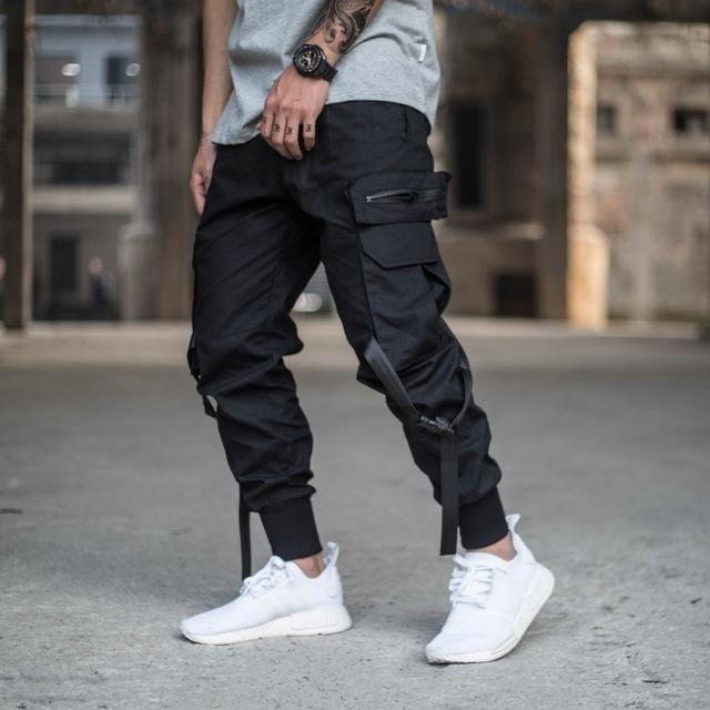 Mens Multi-pocket Harem Pants Jogger Trousers Cargo Combat Street Hip-hop Casual