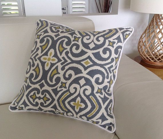 Damask Print Pillow Grey Lemon Ivory Cushion by IslandHomeEmporium & Best 25+ Scatter cushions ideas on Pinterest | Colorful pillows ... pillowsntoast.com