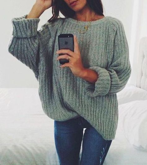 chunky sweater + denim