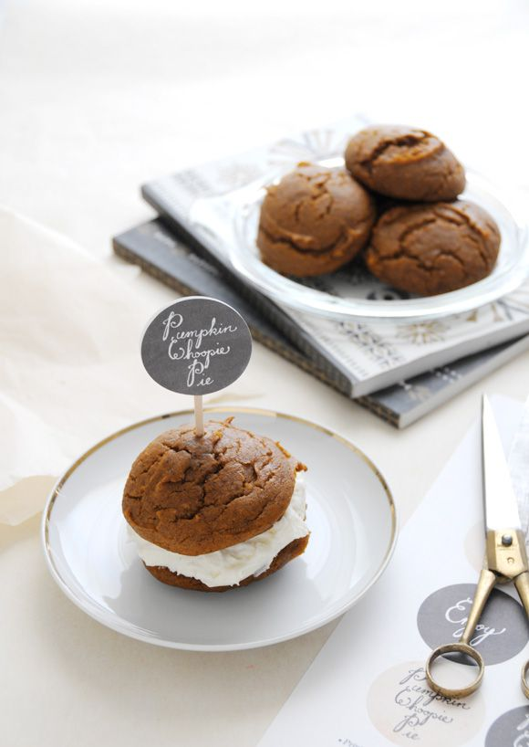 gluten free pumpkin whoopie pies with chai spiked ice cream filling